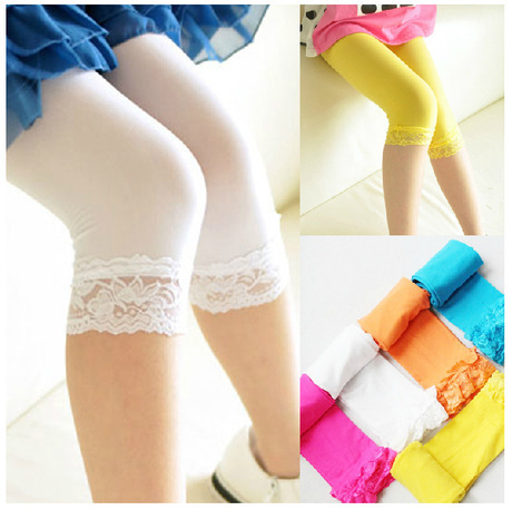 2015 Summer candy-color velvet tights children bottoming lace tights pantyhose