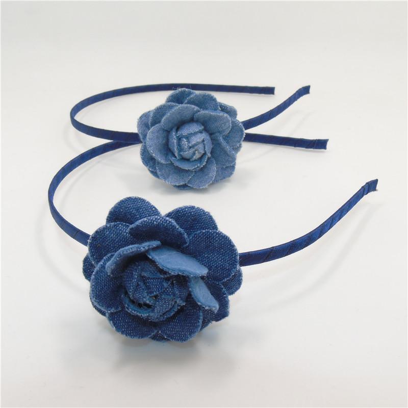 Denim Flower Felt Light Blue Hairband Vintage Rosette Baby Headband Toddler Chic School Girl Floral Rose Head Band 10pcs/lot(China (Mainland))