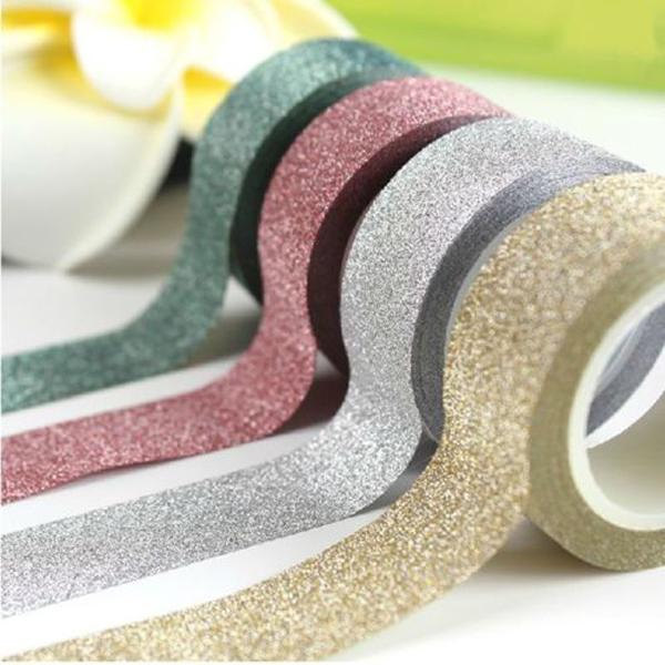 2PCS 8 Colors 5m Craft Roll Glitter Tape Book Card Decor DIY Adhesive Paper Sticker(China (Mainland))