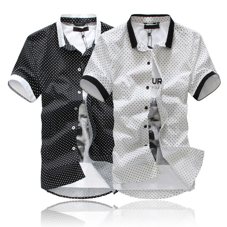 Free shipping 2013 new cotton mens shirts short sleeve for Mens polka dot shirt short sleeve