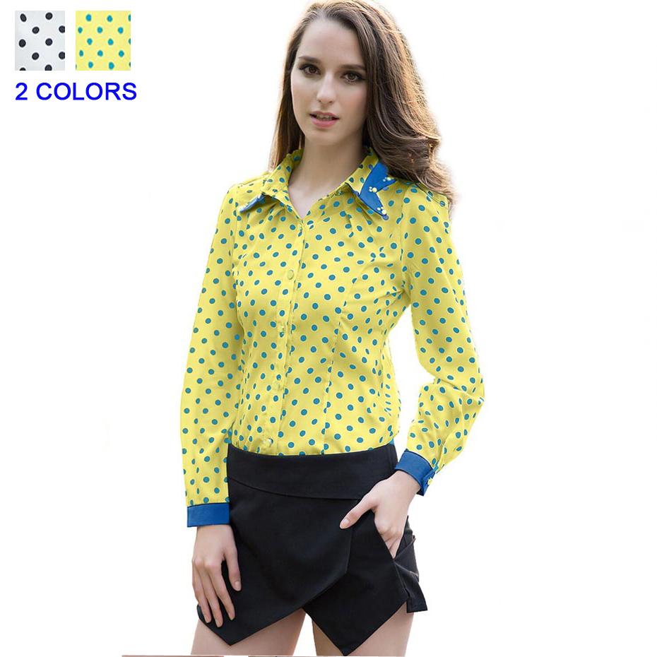 Top Korea Fashion Plus Size Full Sleeve Polka Dot Blusas Femininas Blouse Shirt for Women Bluz Bayan Ropa Mujer Summer style(China (Mainland))