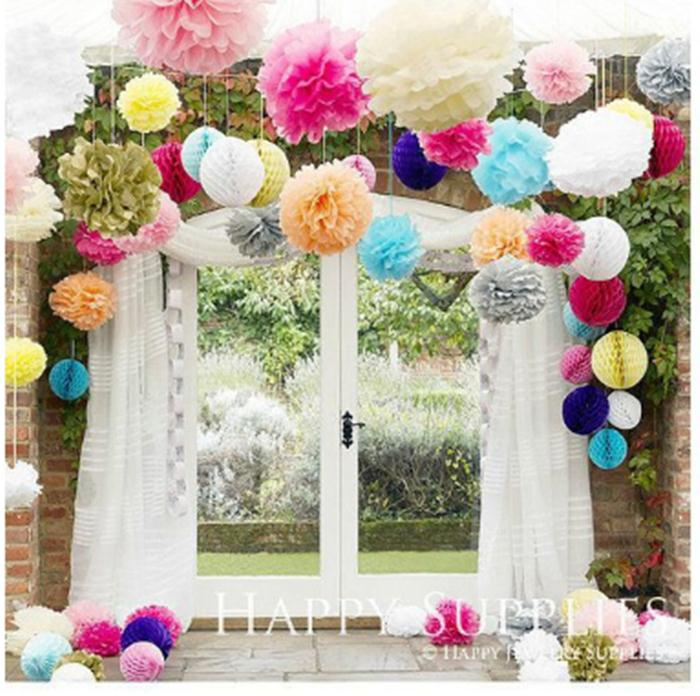 "Free Shipping 10pcs/lot 6"" Tissue Paper Pom Flowers Balls Wedding Party Decoration(China (Mainland))"