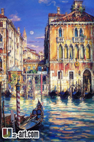Venice cityscape oil painting architecture canvas prints reproduction of city picture wall decoration gift for aoter person(China (Mainland))
