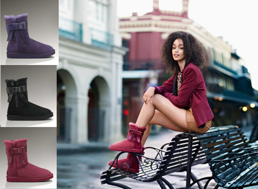 real australia sheepskin women winter brand snow boots Bandage Bow-knot snow boots online outlet(China (Mainland))