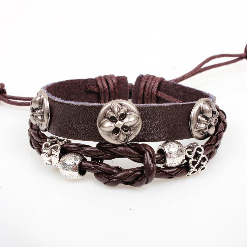 Leather Vintage Unisex Handmade Beads Pentagram Adjustable Men Bracelet Jewelry Metal Flower Women - Sonia's store