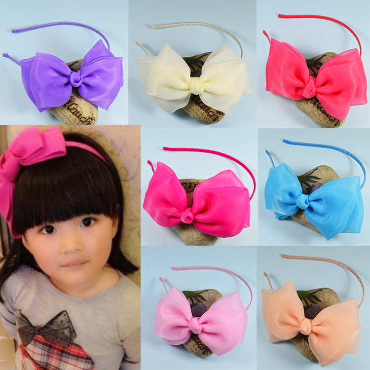 2015 boutique hair bows children's hair bands lace chiffon princess student hoop for hair girls hair accessories(China (Mainland))