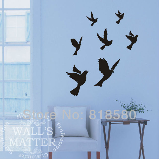 Free Shipping Home Decor Lovely Flying Birds Doves Vinyl Wall Art Stickers Wall Decals