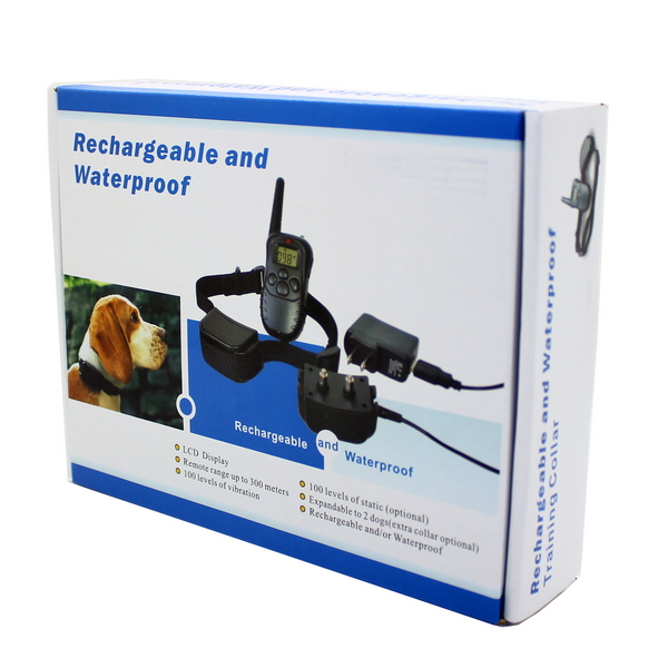 Waterproof Rechargeable Remote Electric Shock Anti-Bark Dog Training Collar LCD Display pet998dr-1 Blue Backlight Optional(China (Mainland))