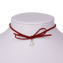 Summer Punk Black Red Bowknot Short Necklaces Gothnic Velvet Rope Chokers Women Fashion Costume Accessories collier colares(China (Mainland))