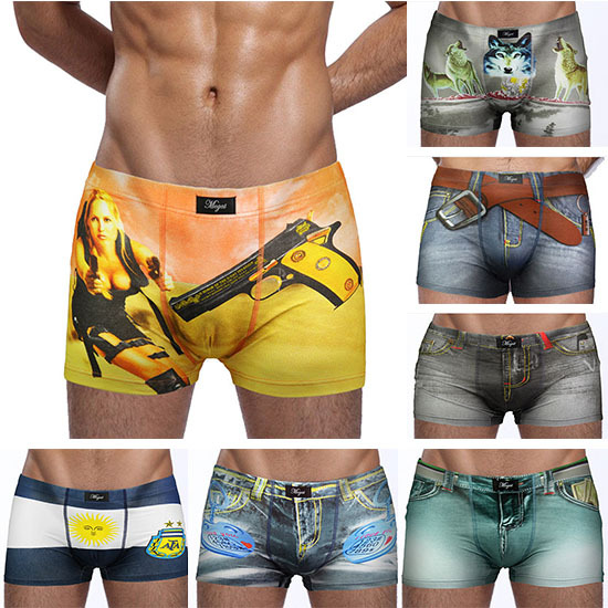 2015 New Arrival Boxer Shorts Men Casual Sexy Cotton Underwear Brand Funny Printed Shorts Cuecas Seamless Underpants 2Pcs/Lot(China (Mainland))