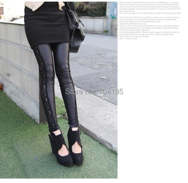 Fashion Splice Imitation Denim Leggings Side Lace Splice Imitation
