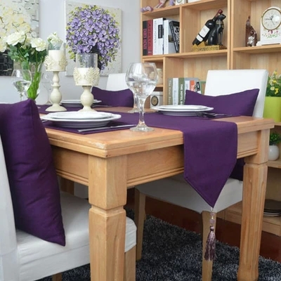 (30*160,30*180cm,30*200cm,30x220cm)New woven 100% cotton Deep Purple Table Runner/Flag Home Decoration Hotel Series Customize(China (Mainland))