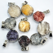 New 2016 Fashion Druzy Round Platinum Plate Bezel Irregular Nature Stone Mix Color Agate Charms Geode Druzy Pendant For Necklace(China (Mainland))