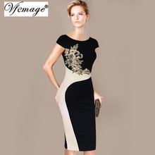 Vfemage Womens Elegant Vintage Embroidered Contrast Slim Casual Work Special Occasion Party Pencil Sheath Embroidery Dress 3973(China (Mainland))