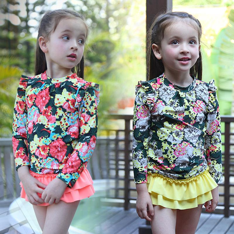 2016 new long-sleeved floral sun dress Girls split swimsuit Hot spring swimwear<br><br>Aliexpress