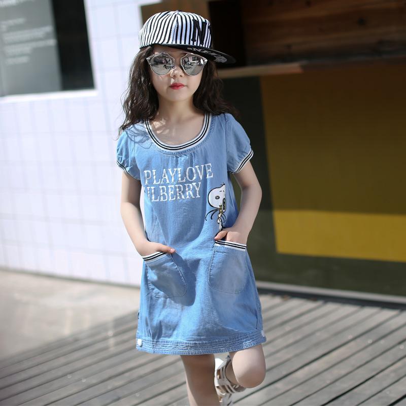 flower girl Dress Kids Clothing cowboy Children's clothes wear,2016 girl Summer dresses Toddler Princess Dress girl denim dress(China (Mainland))