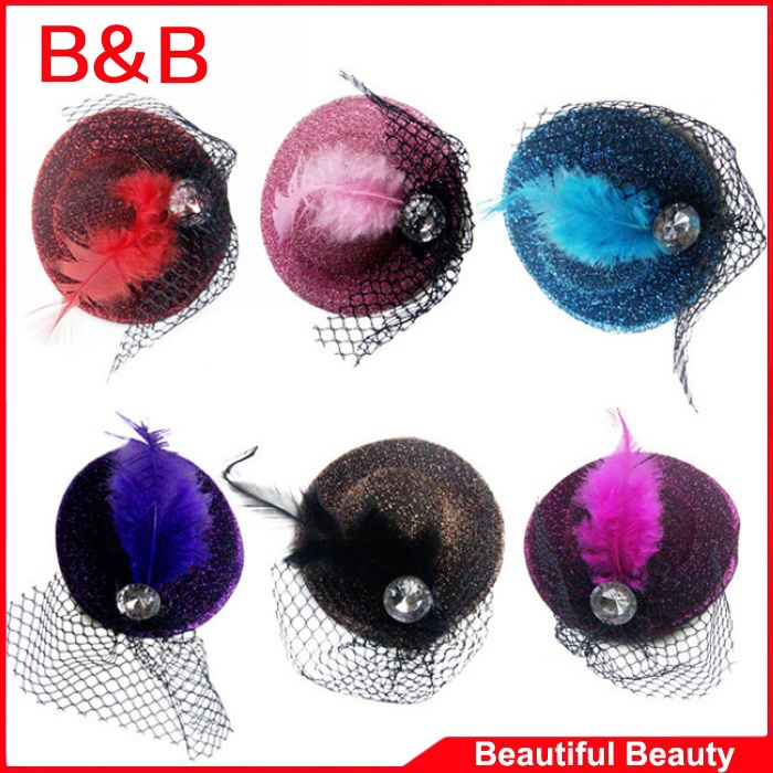 New Discount Fashion Feather Baby Hair Clip Mini Top Hat With Clips Hair Accessories Headpiece Baby Bows 6 Colors(China (Mainland))