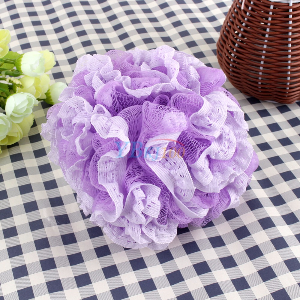 4 Colors Beatiful Lace Bath Ball Colorful Body Cleaning Mesh Shower Wash Product Bath Flower Bubble Diameter 18cm(China (Mainland))