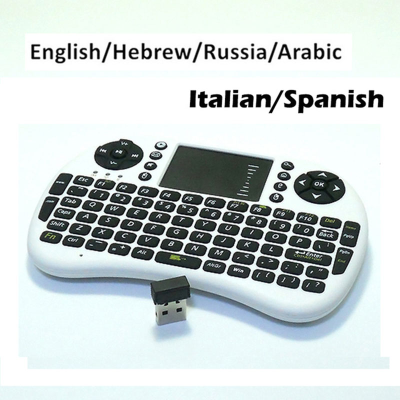 Mini 2.4Ghz Russian English Hebrew Wireless Keyboard fly Air Mouse Remote Control Touchpad For Laptop TV Box PC Tablet Mini PC(China (Mainland))