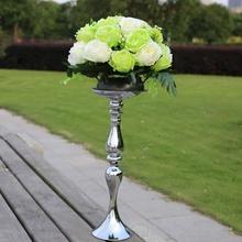 Hot Sale!!! Stands Silver Candelabra Wedding Candle Holder Romantic Wedding Flower Standing Wedding Candlestick(China (Mainland))