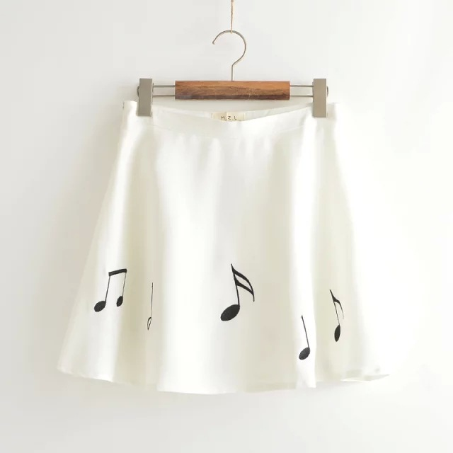 2015 women's summer styles Mori girl Japanese Musical Notes embroidered skirts Cute casual zipper A-line skirts(China (Mainland))