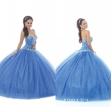 Light Blue Sweetheart Princess Lovely Cute Crystals Students Girls National Pegeant Communion New Quinceanera Dress Ball Gown()