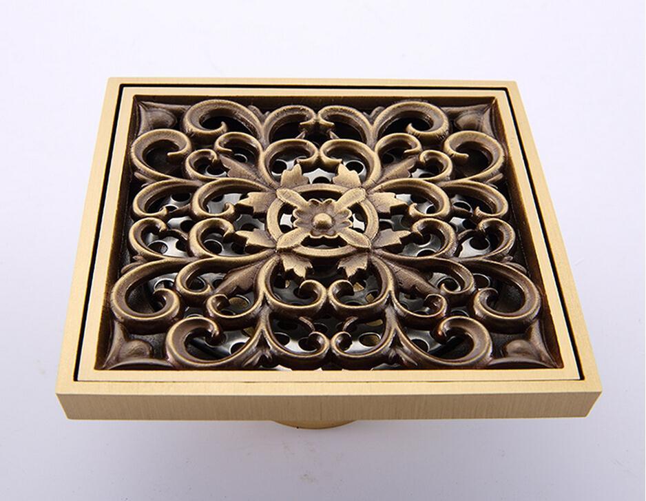 European Style Garden Carved Brass Floor Drain Bathroom Shower Drain<br><br>Aliexpress
