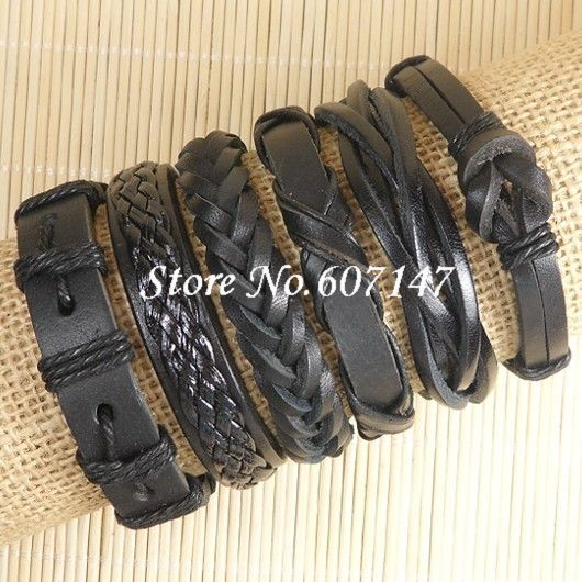 Wholesale (6pcs/lot) handmade pulseras cuero Genuine Black stardust Male leather bracelets bangles for men friendship jewelry(China (Mainland))
