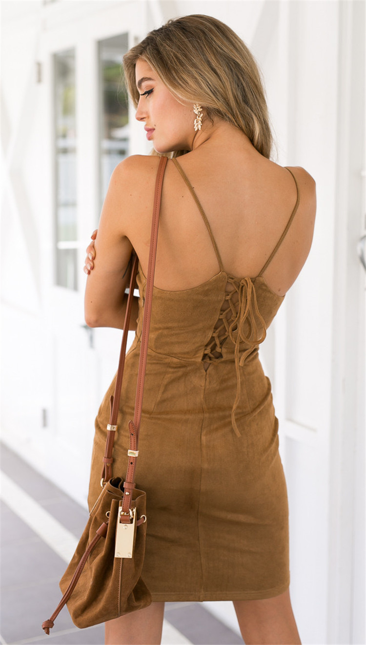 And the wind back straps sling bag hip backless sexy slim Dress Size