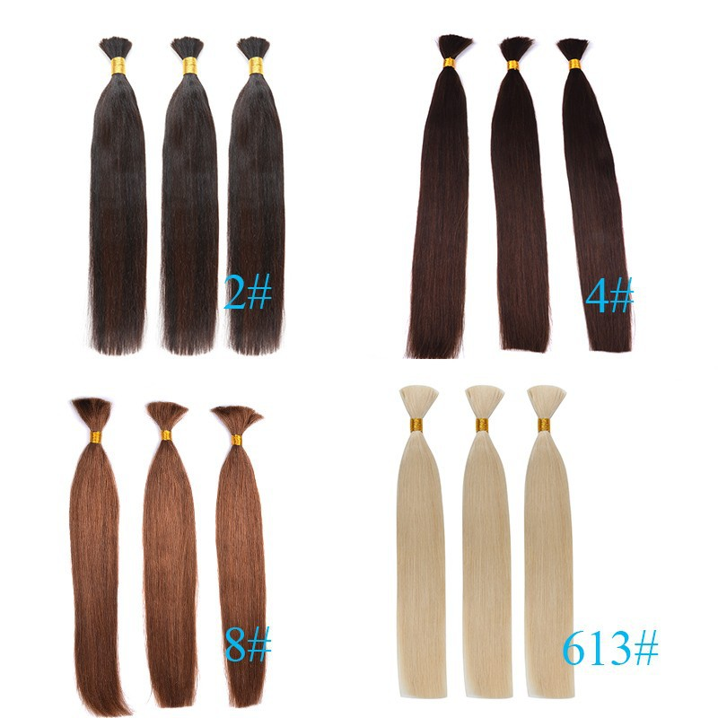 Indian Human Virgin Remy Straight Hair Bulk No Attachment 100g/pc #613 Bleach Blonde100% Human Braiding Hair Bulk No Weft