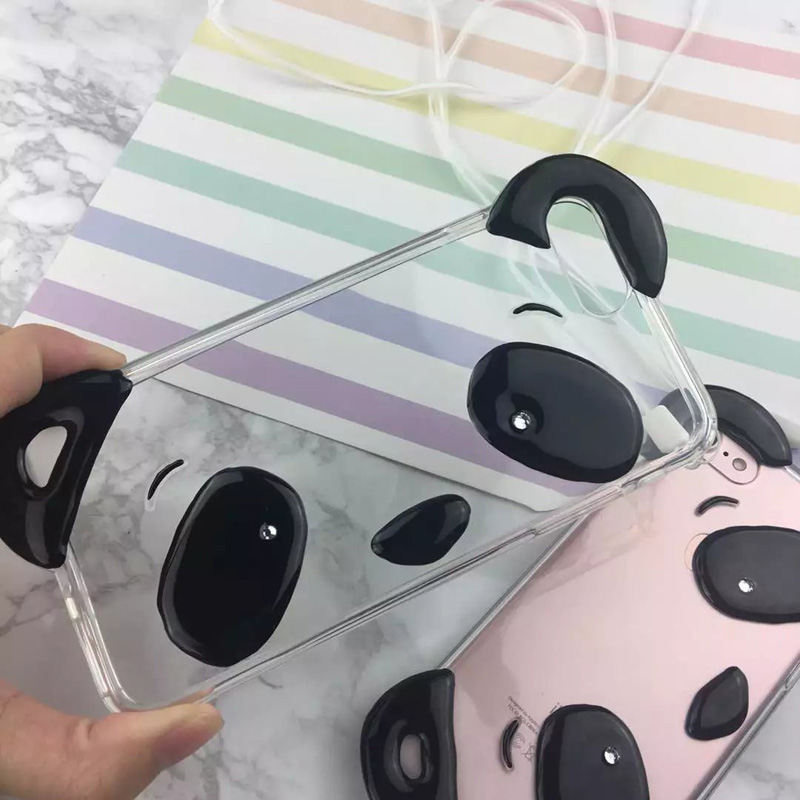 Simple National Treasure Panda Phone Cases for Apple 7 Clear Perfume Panda Cute Mobile Phone Shell For iPhone 6 6s 7 Plus 408C(China (Mainland))