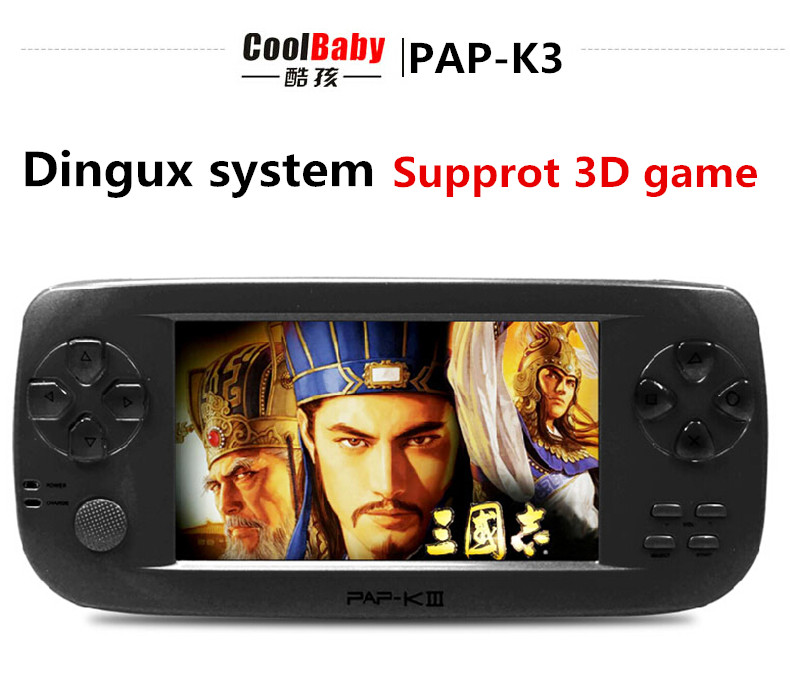 2016 Original New Dingux system 4.3 inch vedio game Consoles , built in memory MP5 support 3D Game Console music player Black(China (Mainland))