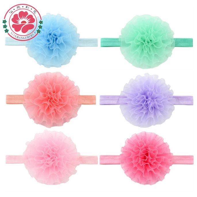 12pcs/lot Childeren Baby Elastic Hairband Chiffon Flower Newborn Headband Hair Band Headwear Infant Girls Hair Accessories 591(China (Mainland))