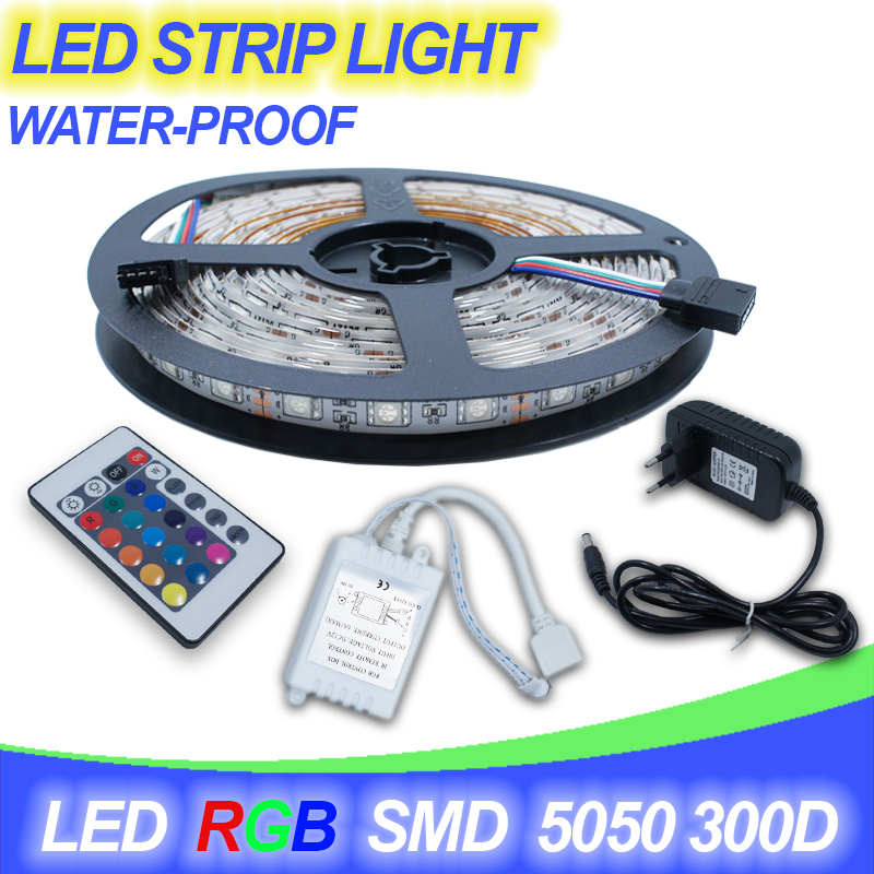 Waterproof LED RGB strip 5m 300LED IP65 SMD5050 IR Remote Controller Receptor DC12V 2A Adapter Power RGB strip light lamp(China (Mainland))