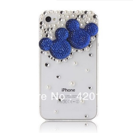 3D Bling Crystal Pearl Mickey Minnie Mouse Head Diamond Case Cover for iPhone 5 5g, Blue