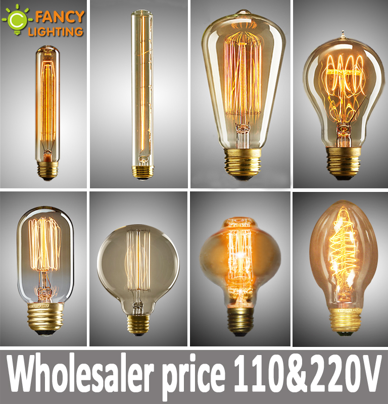 Vintage Edison incandescent Light Bulb Retro Edison Filament Lamp Bulb E14 E27 110V 220V Miniature antique Bulb Edison bombilla(China (Mainland))