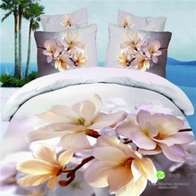 Lily Brown Peach bedclothes 3d   bedcover flowers king  cotton bed sheet Linen Duvet/Comforter/Quilt cover sets 4pc bedding set(China (Mainland))