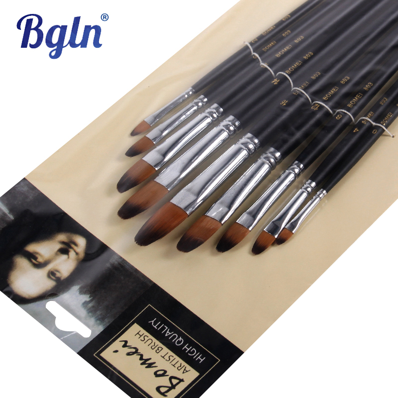 9pcs/set Nylon Oil Paint Brush Round Painting Brush For Watercolor,Oil,Acrylic Brush Pen pincel para pintura Art Supplies 803(China (Mainland))
