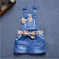 New 2017 Brand Baby Girls Denim Sundress Girls Suspender Denim Dress Heart Flower print Mini Sundress