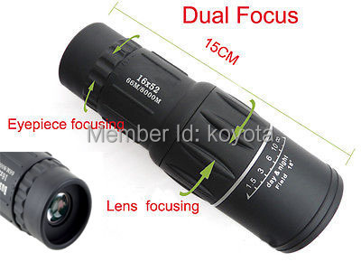 New 16x52 Dual Focus Zoom Green Optic Lens Armoring Travel Monocular Telescope for sports outdoor telescopio Free Shipping<br><br>Aliexpress