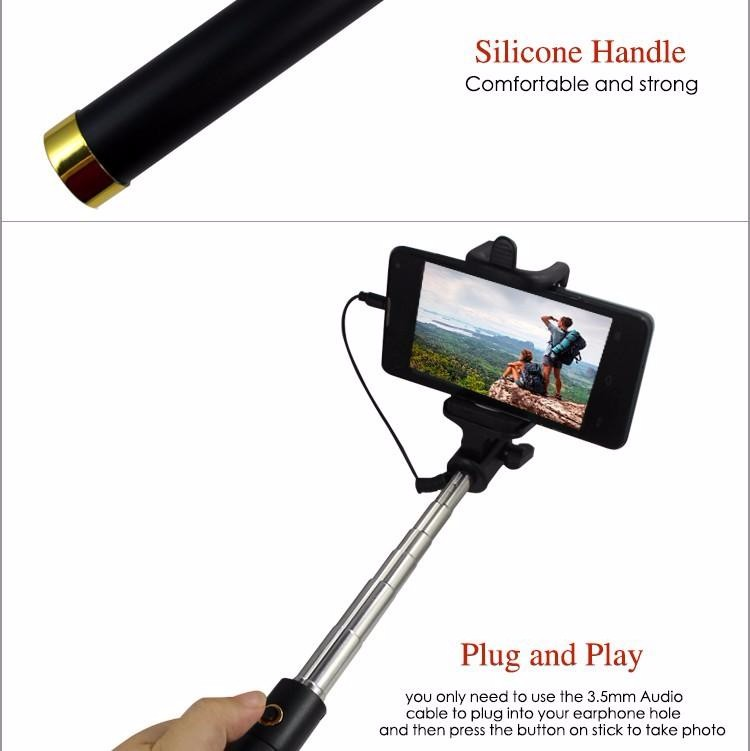 image for High Quality Mini Wired Selfie Stick 18.5-80cm Foldable Bracket Monopo