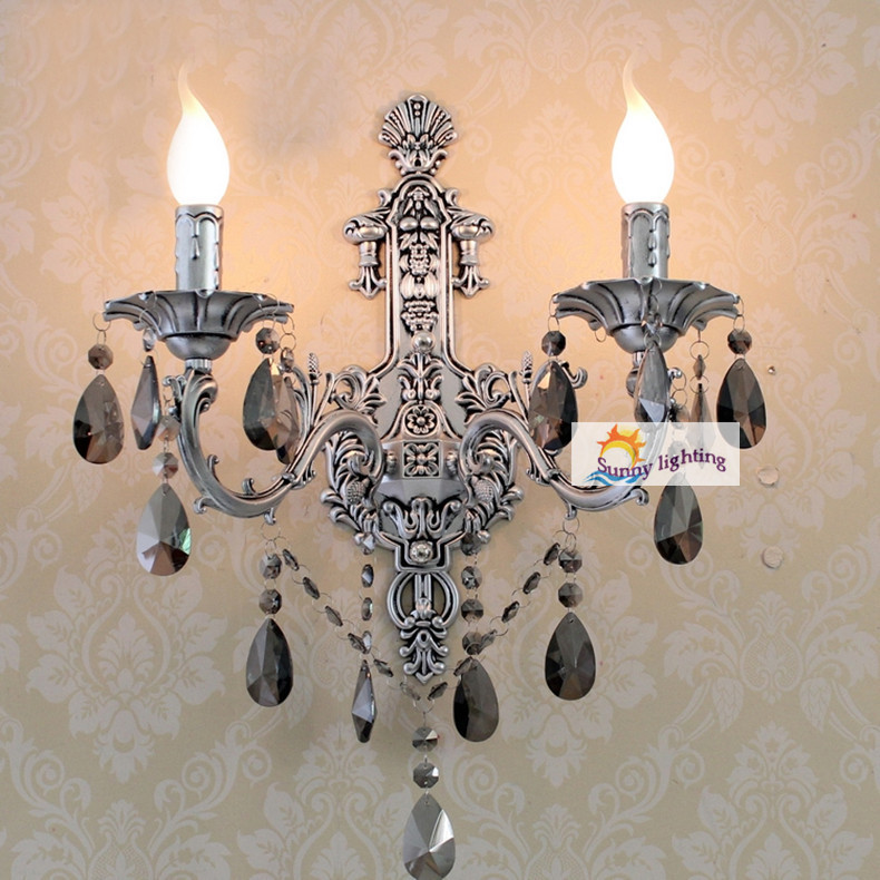 Antique silver wall sconces Vintage Crystal Wall Lamps led lighting Italian creative country Brass classical lamps
