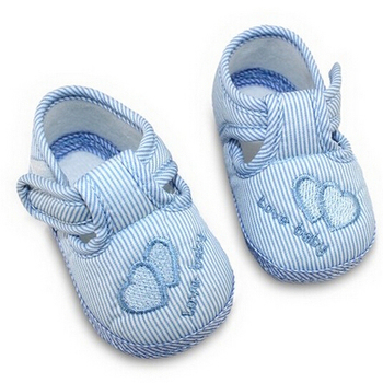 Baby Shoes Toddler Soft Sole Girls Shoes Baby First Walker Shoes Double Heart Parten Stripe 3 Colors