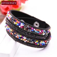 Buy HYHONEY Fashion Double laps Wrap Bracelet Slake Leather Bracelets Colorful crystal bracelets & bangles Jewelry wholesale for $1.45 in AliExpress store