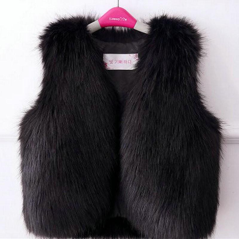 New Fashion Waistcoat for girls Faux Fur vest chaqueta pelo Faux fox fur doudoune fourrure enfant kids coats jackets KD120