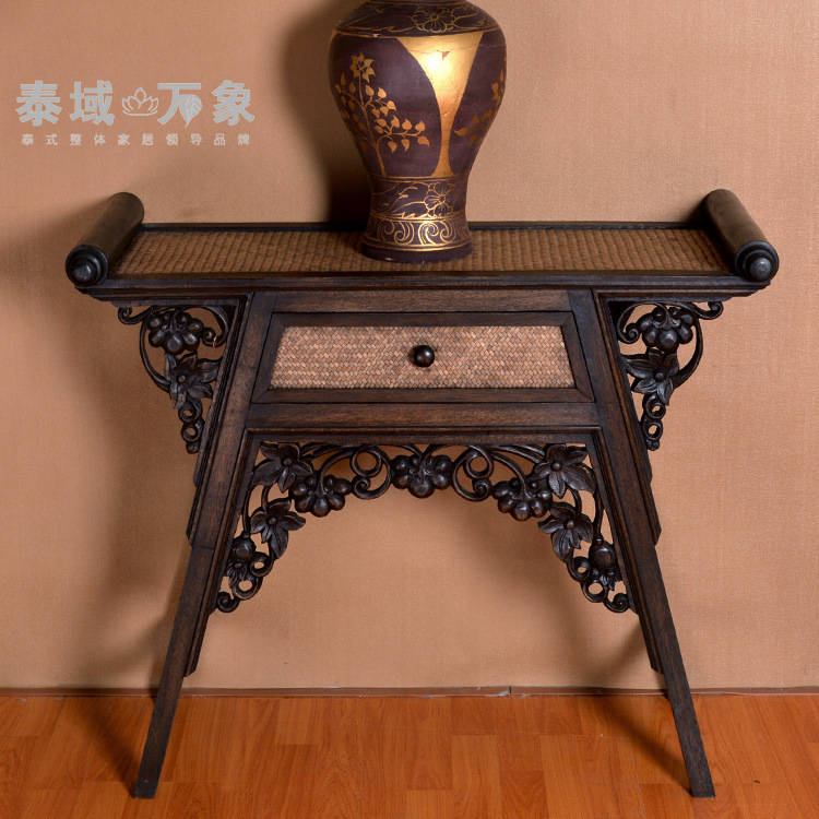 thai custom creative handmade carved wooden desk furniture home decor