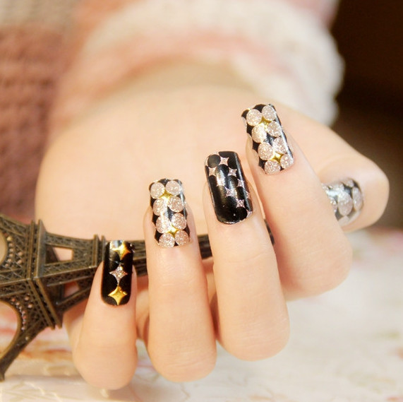 q212# full cover nail tips decoration new fashion beauty glitter foil wrap on Nail Art, nail stickers,sticker on nails(China (Mainland))
