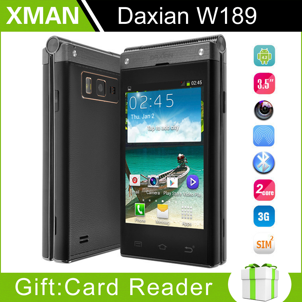 "Original Old Man Phone Daxian W189 Flip Mobile Phone 3.5"" IPS Screen MTK6572 Dual Core 4GB ROM 5MP Android 4.2 3G Bluetooth Anna(China (Mainland))"