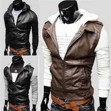 Mens Knitted design with a hood slim leather patchwork clothing outerwear jacket coat(China (Mainland))