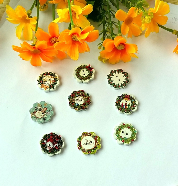 NEW Christmas Buttons Hot! 30pcs 20mm 2 Holes Round Natural Wooden buttons Mixed For handmake Scrapbooking Crafts Free shipping(China (Mainland))
